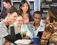 Five Students Studying Stock Image