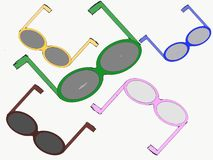 Sunglasses of Five Colors For Outside vector illustration
