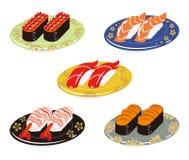 Five Sushi plates set Royalty Free Stock Photos