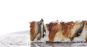 Five sushi rolls with smoked eel , isolated Royalty Free Stock Photos