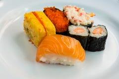 Five Sushi on white dish. Close up to sushi set Stock Photography