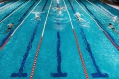 Five swimmers racing against each other in a swiming pool. Five male swimmers doing the butterflies stroke while racing against each other in a swiming pool Stock Photo