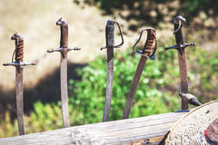 Five swords exhibited in a row. Five swords stand upright and are based on the log Royalty Free Stock Photography