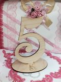 Five. Table number five Stock Photo