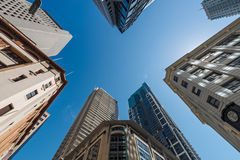 Five tall buildings upright Royalty Free Stock Photos