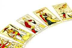 Five Tarot Cards Used for Fortune Telling Royalty Free Stock Photos
