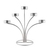 Five tea candles metal candelabrum Stock Photography