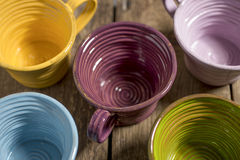 Five Tea Cups High Angle Close-Up Stock Photos
