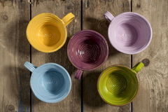 Five Tea Cups High Angle Stock Images