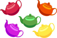 Five teapots. Colored red,orange,purple,yellow and green Stock Photo