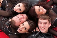 Five teenagers smiling close up. Stock Photo
