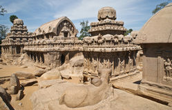 Five temples (rathas) in Mammalapuram, India Stock Images