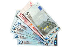 Five, ten and twenty Euros. Stock Photo