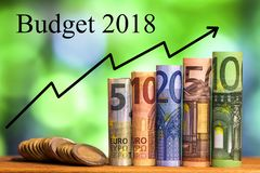 Five, ten, twenty, fifty and one hundred euro rolled bills banknotes. With Budget words and arrow chart Royalty Free Stock Photos