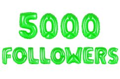 Five thousand followers, green color Royalty Free Stock Photography