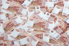 Five thousand roubles. Money Background. Pattern of 5000 roubles bills Stock Photo