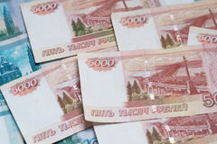 Five Thousand Ruble Notes. Close-up of russian banknotes. Five Thousand Ruble Notes Royalty Free Stock Image