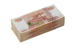 Five Thousand Ruble Notes Stock Photos