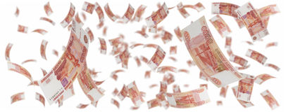 Five thousand russian rubles rain Royalty Free Stock Photography
