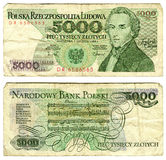 Five thousand zlotych, Poland stock images