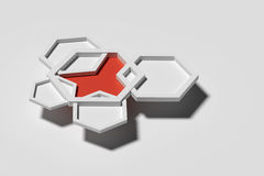 Five three-dimensional pentagons casting shadow Royalty Free Stock Photos
