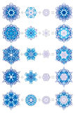 Snowflakes layered with ornaments Royalty Free Stock Photos