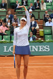 Five times Grand Slam champion Maria Sharapova celebrates victory after her third round match at Roland Garros 2015 Royalty Free Stock Photo