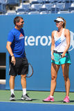 Five times Grand Slam champion Maria Sharapova practices with her coach Sven Groeneveld for US Open 2014 Stock Image