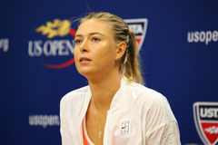 Five times Grand Slam Champion Maria Sharapova during press conference before US Open 2015 Stock Photos
