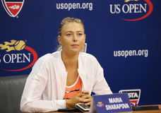 Five times Grand Slam Champion Maria Sharapova during press conference before US Open 2015 Royalty Free Stock Photography