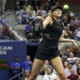 Five times Grand Slam Champion Maria Sharapova of Russia in action during her US Open 2017 first round match Royalty Free Stock Image