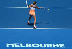 Five times Grand Slam champion Maria Sharapova of Russia in action during quarterfinal match at Australian Open 2016 Stock Photos