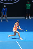 Five times Grand Slam champion Maria Sharapova of Russia in action during quarterfinal match at Australian Open 2016 Royalty Free Stock Photo