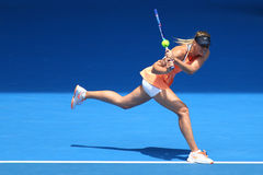 Five times Grand Slam champion Maria Sharapova of Russia in action during quarterfinal match at Australian Open 2016 Royalty Free Stock Photos