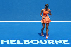 Five times Grand Slam champion Maria Sharapova of Russia in action during quarterfinal match at Australian Open 2016. MELBOURNE, AUSTRALIA - JANUARY 26, 2016 Royalty Free Stock Photography