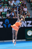 Five times Grand Slam champion Maria Sharapova of Russia in action during quarterfinal match at Australian Open 2016 Royalty Free Stock Images