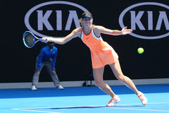 Five times Grand Slam champion Maria Sharapova of Russia in action during quarterfinal match at Australian Open 2016 Stock Image