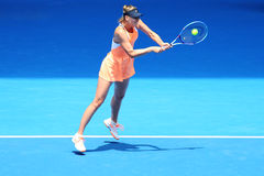 Five times Grand Slam champion Maria Sharapova of Russia in action during quarterfinal match at Australian Open 2016 Royalty Free Stock Image