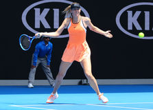 Five times Grand Slam champion Maria Sharapova of Russia in action during quarterfinal match at Australian Open 2016 Stock Photo