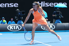 Five times Grand Slam champion Maria Sharapova of Russia in action during quarterfinal match at Australian Open 2016 Royalty Free Stock Photography