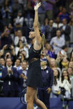 Five times Grand Slam Champion Maria Sharapova of Russia celebrates victory after her US Open 2017 first round match Royalty Free Stock Photos