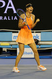 Five times Grand Slam champion Maria Sharapova of Russia celebrates victory after round 4 match at Australian Open 2016 Royalty Free Stock Photography