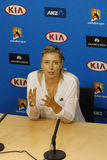 Five times Grand Slam champion Maria Sharapova of Russia during press conference after round 4 match at Australian Open 2016 Royalty Free Stock Images