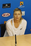 Five times Grand Slam champion Maria Sharapova of Russia during press conference after round 4 match at Australian Open 2016. MELBOURNE, AUSTRALIA - JANUARY 24 Stock Photo