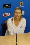 Five times Grand Slam champion Maria Sharapova of Russia during press conference after round 4 match at Australian Open 2016 Royalty Free Stock Photo