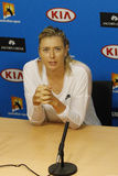 Five times Grand Slam champion Maria Sharapova of Russia during press conference after round 4 match at Australian Open 2016. MELBOURNE, AUSTRALIA - JANUARY 24 Royalty Free Stock Images