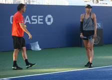Five times Grand Slam Champion Maria Sharapova of Russian Federation practices with her coach Sven Groeneveld for US Open 2017. NEW YORK - AUGUST 23, 2017: Five Stock Image