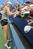 Five times Grand Slam champion Maria Sharapova signing autographs after practice for US Open 2015 Royalty Free Stock Photos