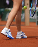 Five times Grand Slam champion Maria Sharapova wears custom Nike shoes during third round match at Roland Garros 2015. PARIS, FRANCE- MAY 29, 2015:Five times stock photography
