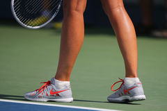 Five times Grand Slam champion Mariya Sharapova wears custom Nike tennis shoes during match at US Open 2014 Stock Photo